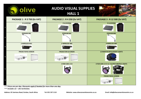 Venue Packages (Hall 1) | Olive Convention Centre