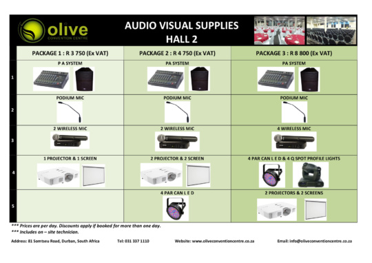 Venue Packages (Hall 2) | Olive Convention Centre